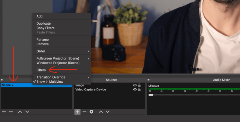 select Filters option for scene in OBS Studio