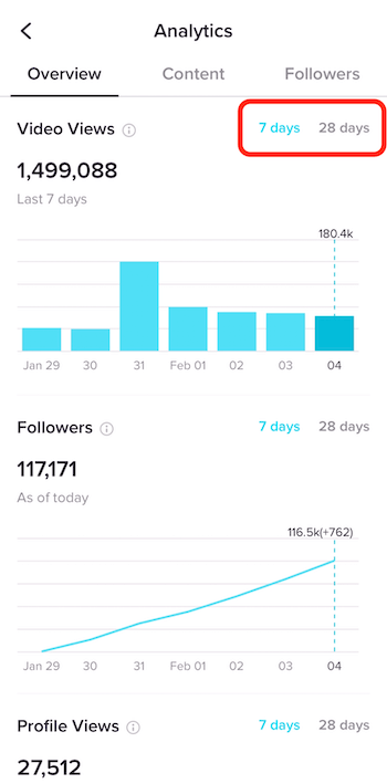 Overview tab in TikTok Analytics