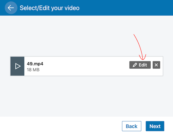 Edit button in LinkedIn video post