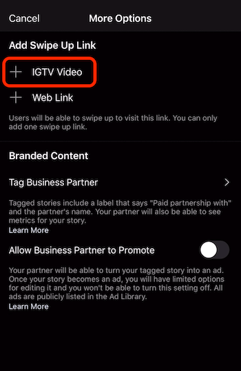 option to add swipe up link to IGTV video