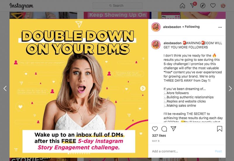 instagram dm uitdaging