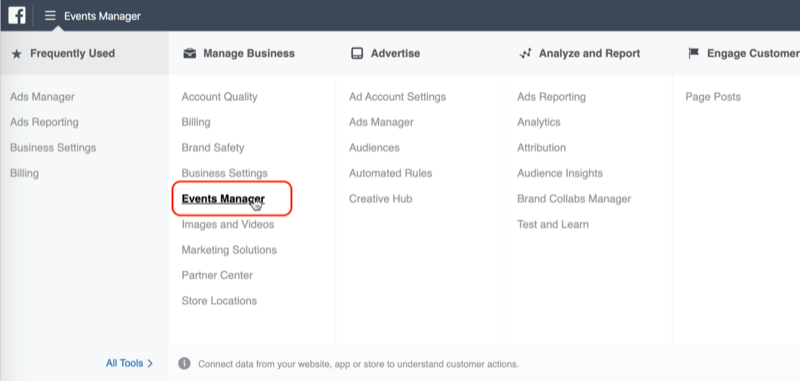 Events Manager option in Facebook Ads Manager