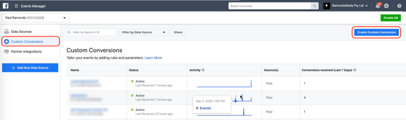 Create Custom Conversion button in Facebook Events Manager