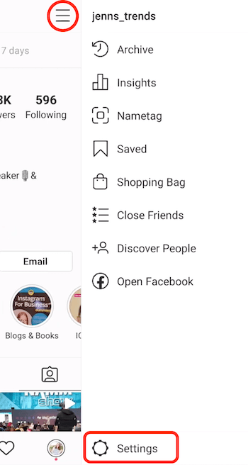 Instagram business profile slide-out menu with Settings option