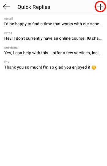 Instagram Quick Replies screen