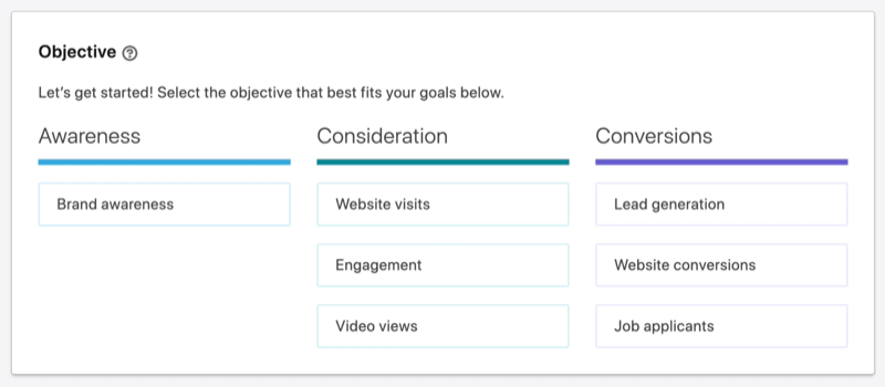 LinkedIn campaign objectives