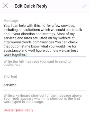 Instagram Edit Quick Reply screen