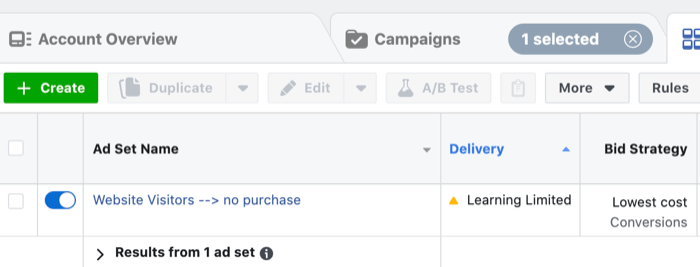 Facebook ads in learning limited phase
