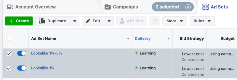 Facebook ads in learning phase