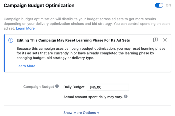 Editing This Campaign May Reset Learning Phase for Its Ad Sets message