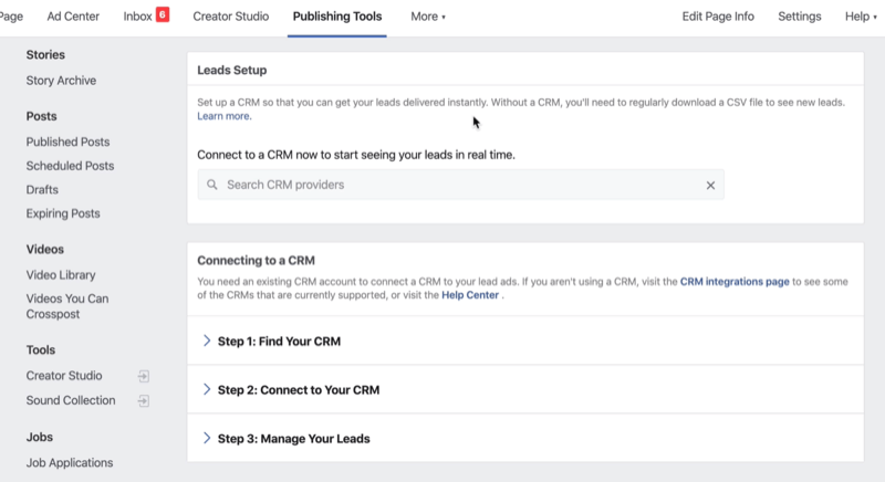 connect CRM to Facebook
