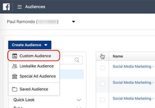 Custom Audience option in Facebook Audiences