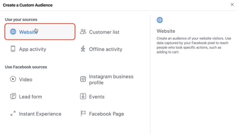 select Website as source for Facebook custom audience