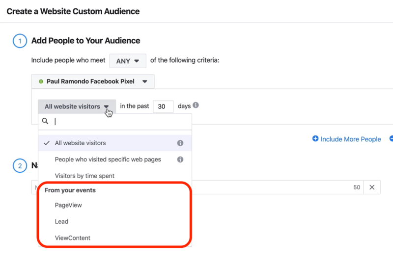 PageView, Lead, and ViewContent options in drop-down menu in Create a Website Custom Audience window