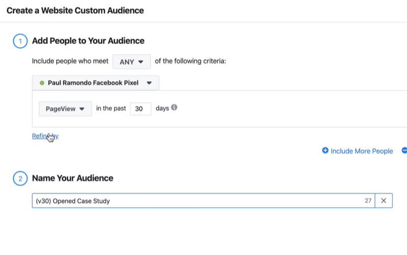 Create a Website Custom Audience window