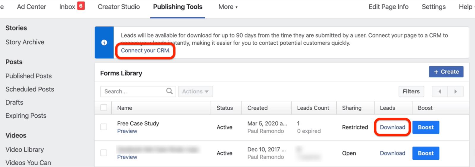 Facebook表格的下载按钮