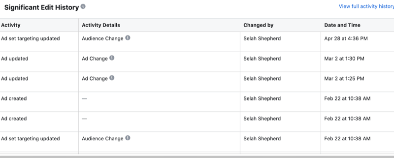 Significant Edit History data in Facebook Inspect tool