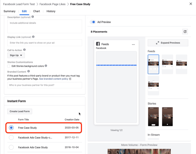 select form for Facebook lead ad
