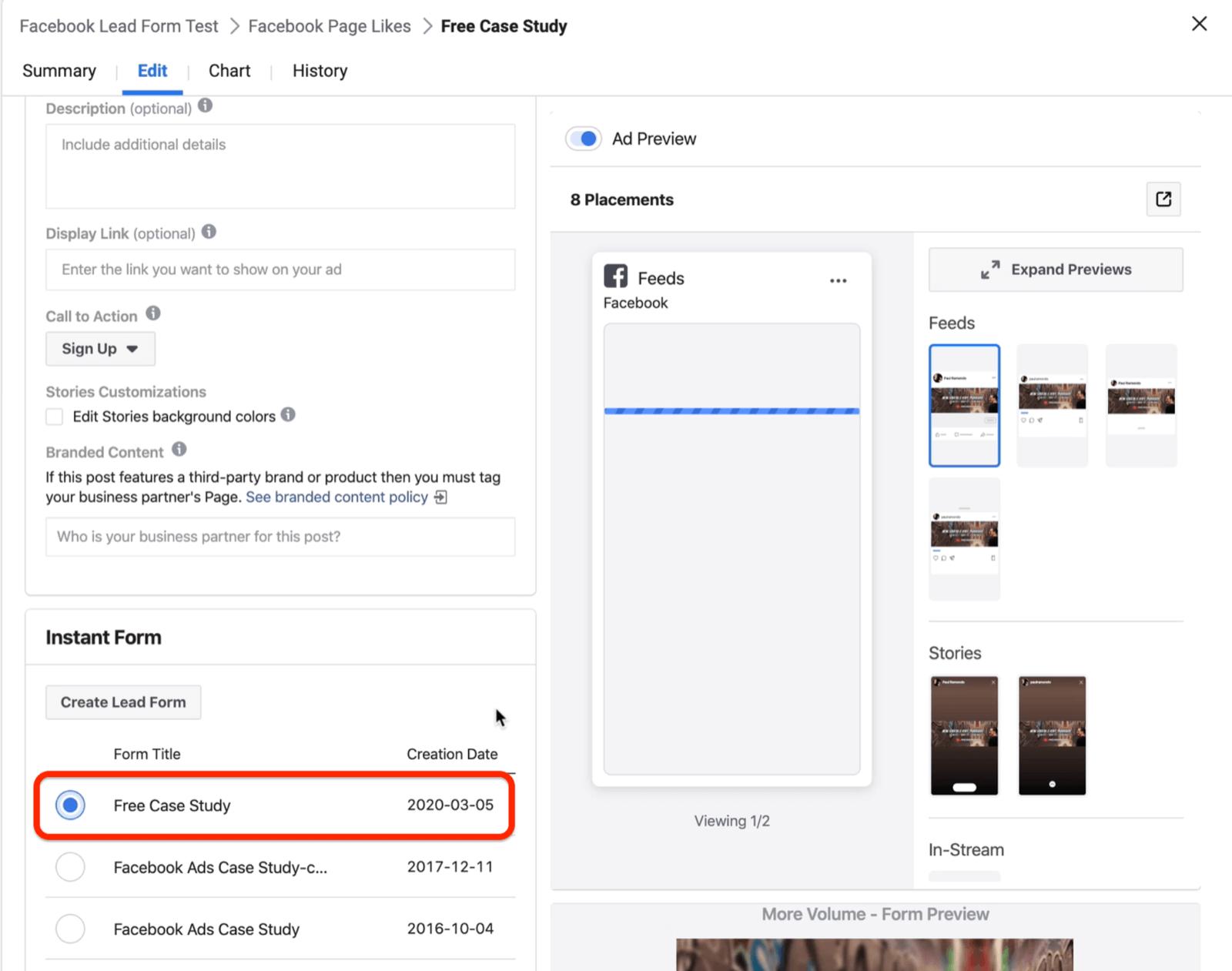 选择Facebook主打广告形式