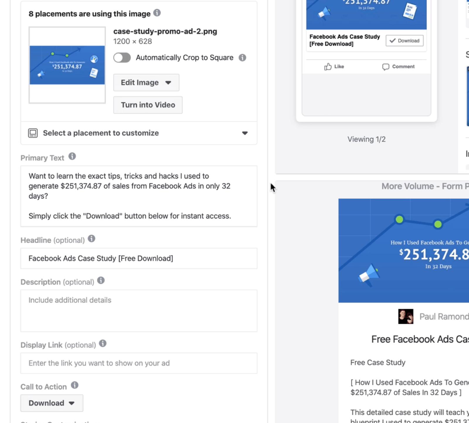 为Facebook主广告选择广告素材