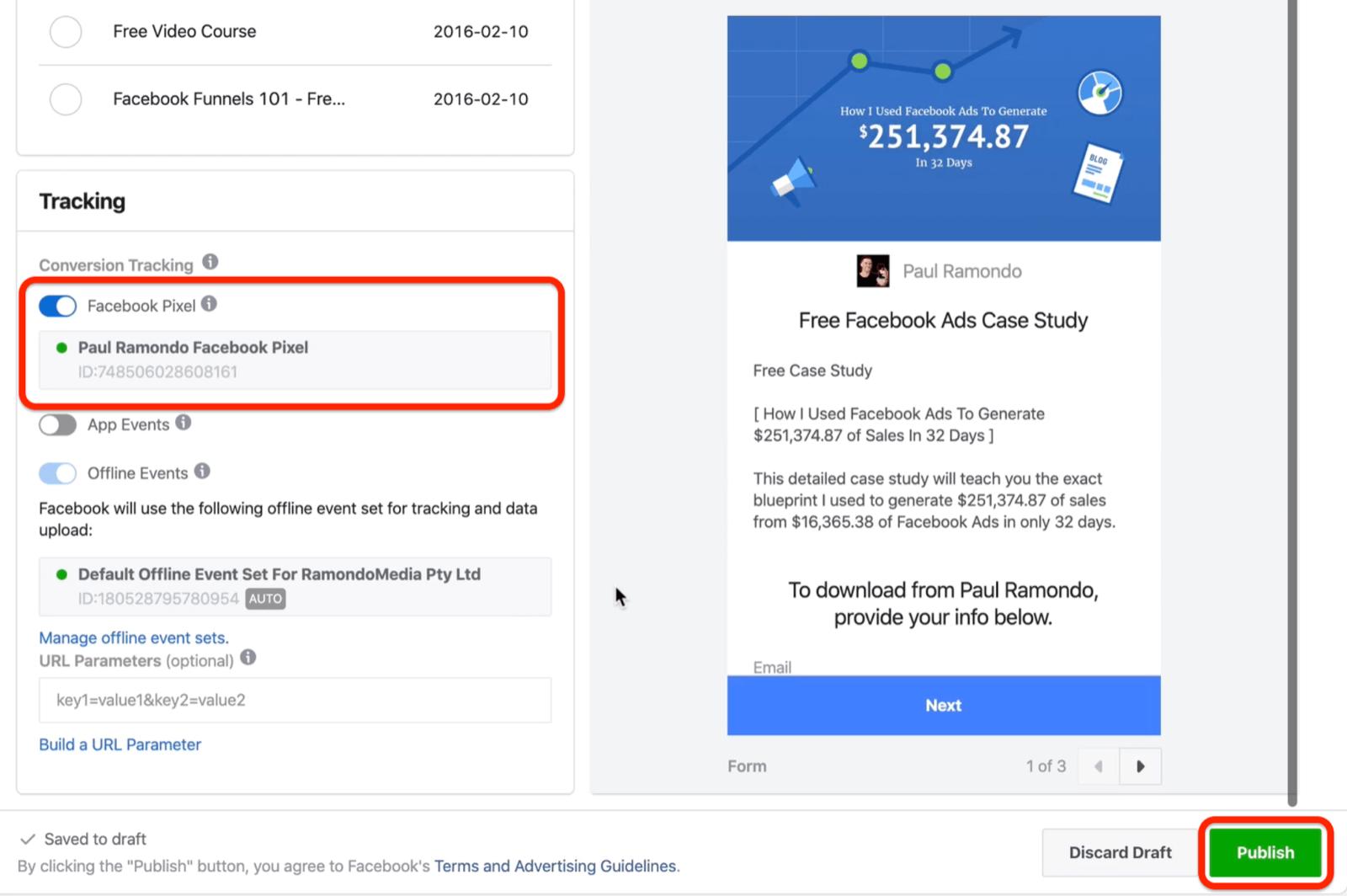 发布按钮以发布Facebook广告系列