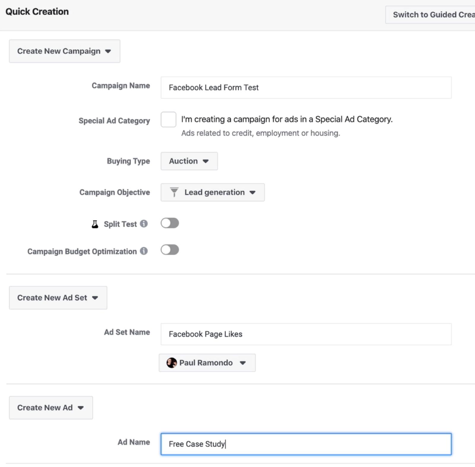 新Facebook活动的快速创建屏幕