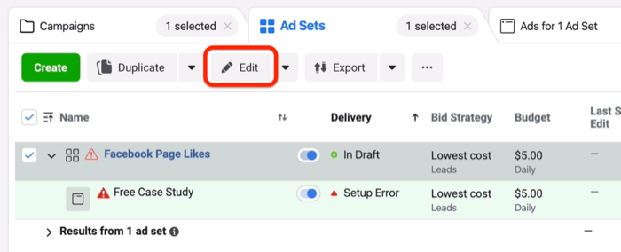Edit button on Ad Sets tab in Facebook Ads Manager