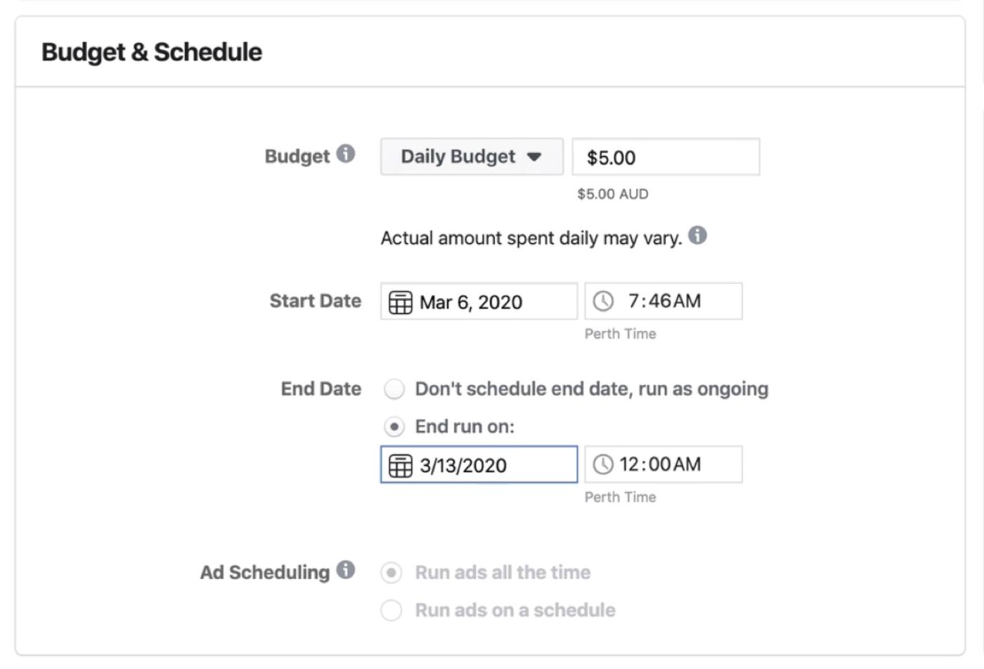 Facebook Ads Manager中广告集级别的预算和计划部分