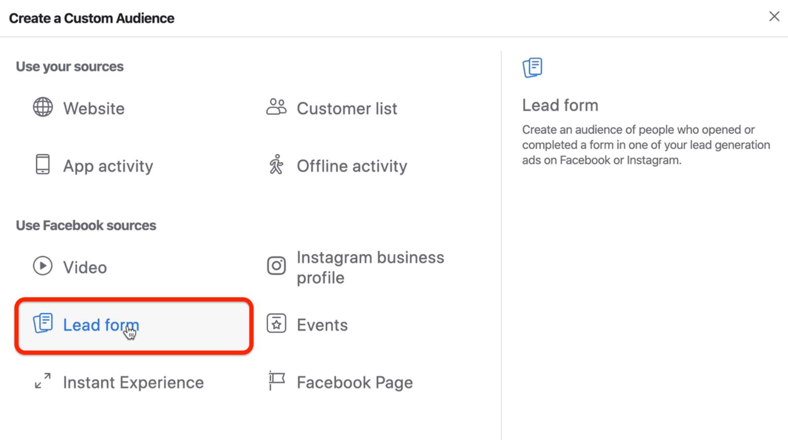 针对Facebook自定义受众的潜在客户表单选项