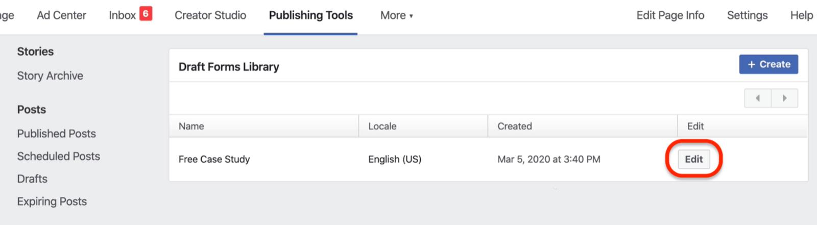 草稿表单库中的Facebook主表单