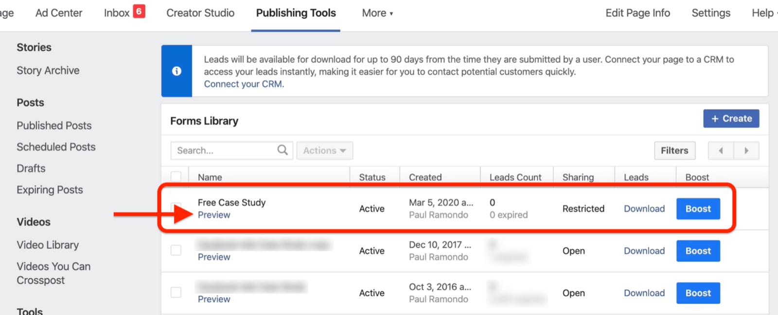 在Facebook表单库中预览链接