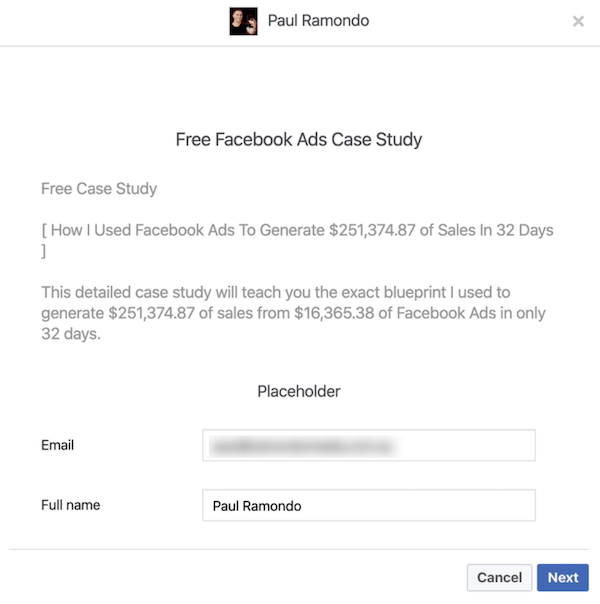 Facebook lead form preview