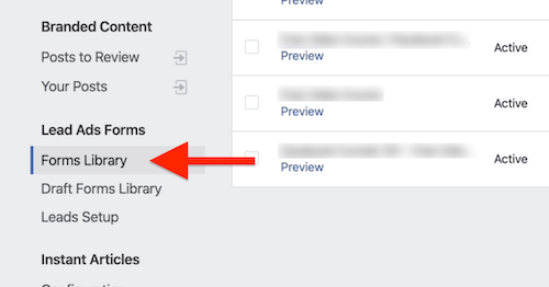 Forms Library option in Facebook Publishing Tools