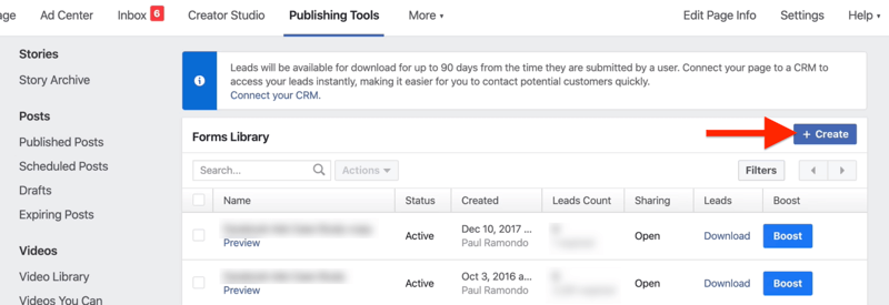 Create button in Facebook Forms Library