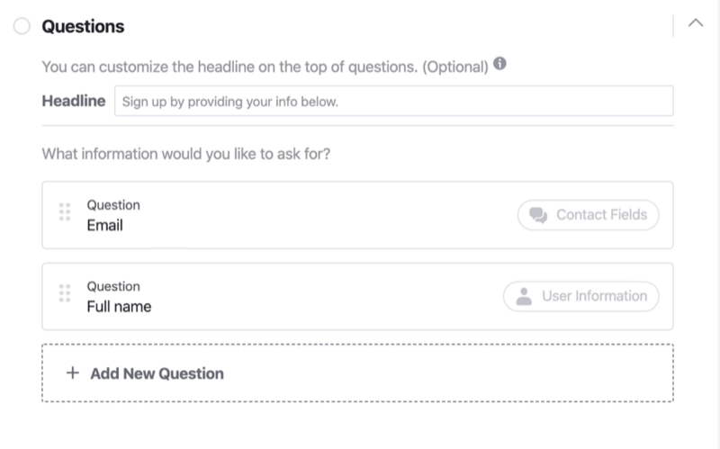 Questions section of Facebook lead form setup process