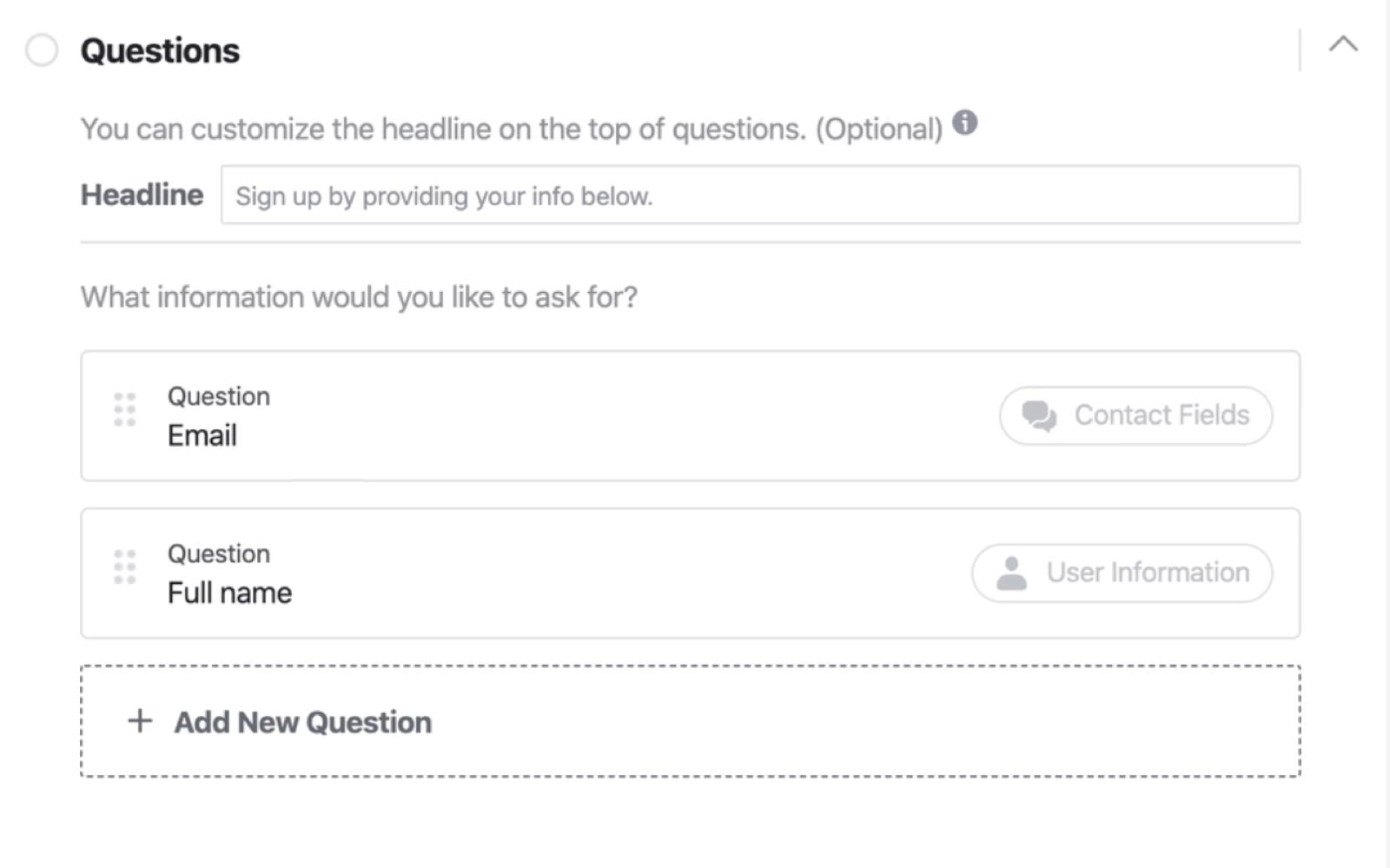 Facebook潜在客户表单建立程序的问题部分