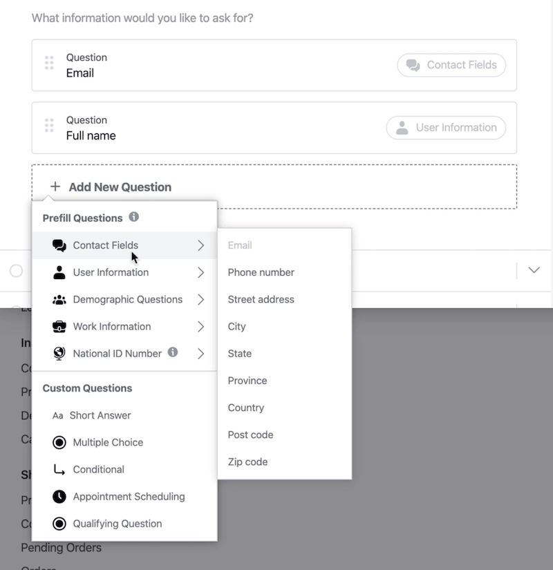 Prefill Questions and Custom Questions options for Facebook lead forms setup