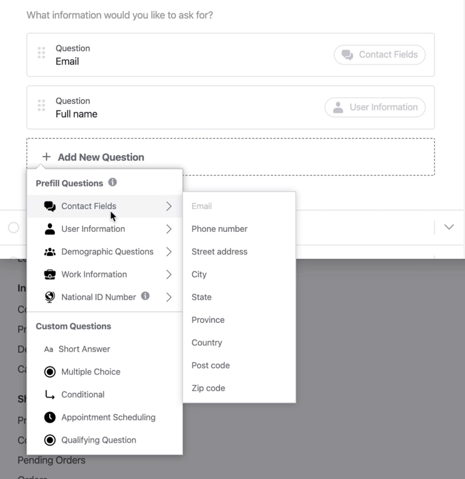 Facebook潜在客户表单设置的预填问题和自定义问题选项
