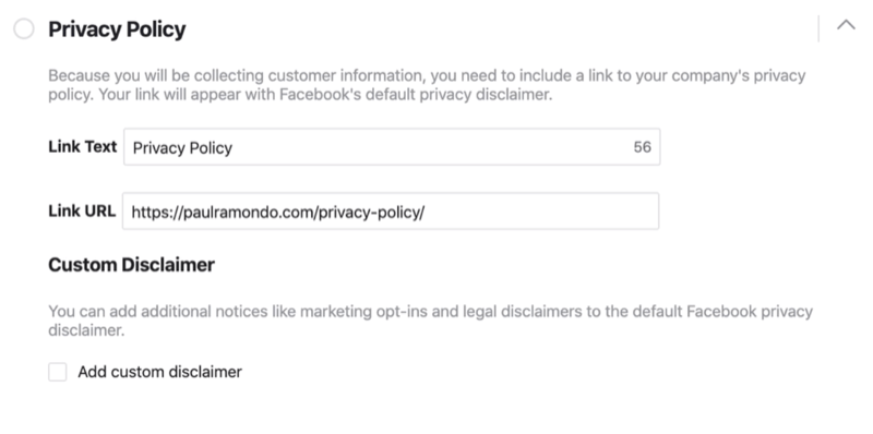 Privacy Policy section of Facebook lead form setup proces
