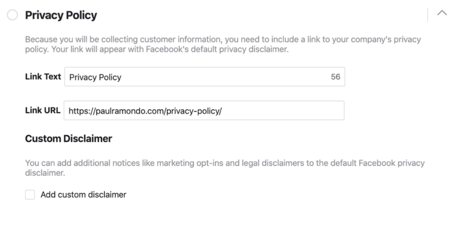 "Facebook潜在客户表单设置过程的""隐私政策""部分"