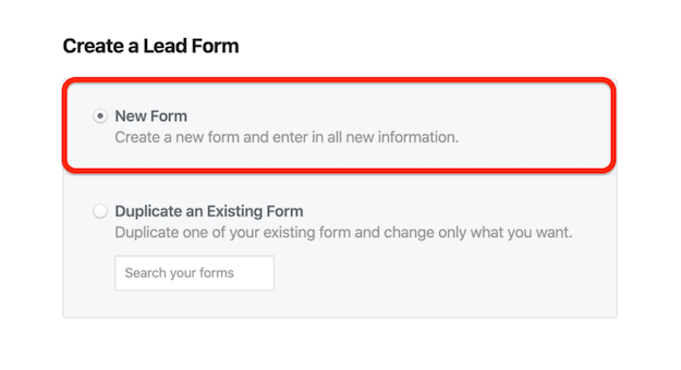New Form option in Facebook Create a Lead Form window
