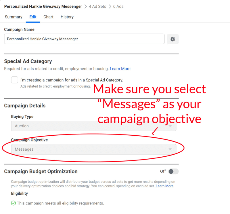 facebook messenger giveaway messenger ad set up step 6