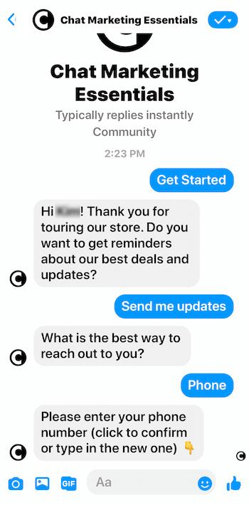 Facebook Messenger bot asking for phone number confirmation