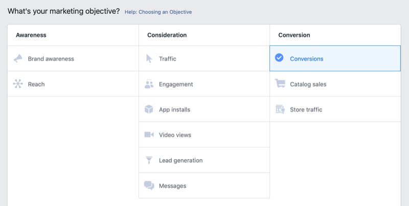 Conversions objective selected for Instagram ad campaign