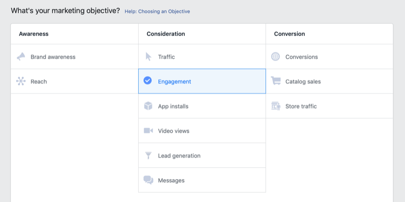 Engagement objective selected for Instagram ad campaign