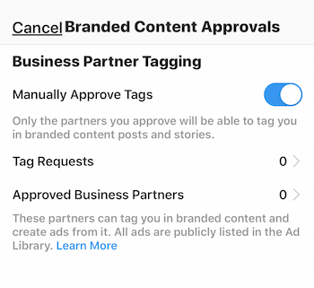 Instagram branded content approval settings for business profile