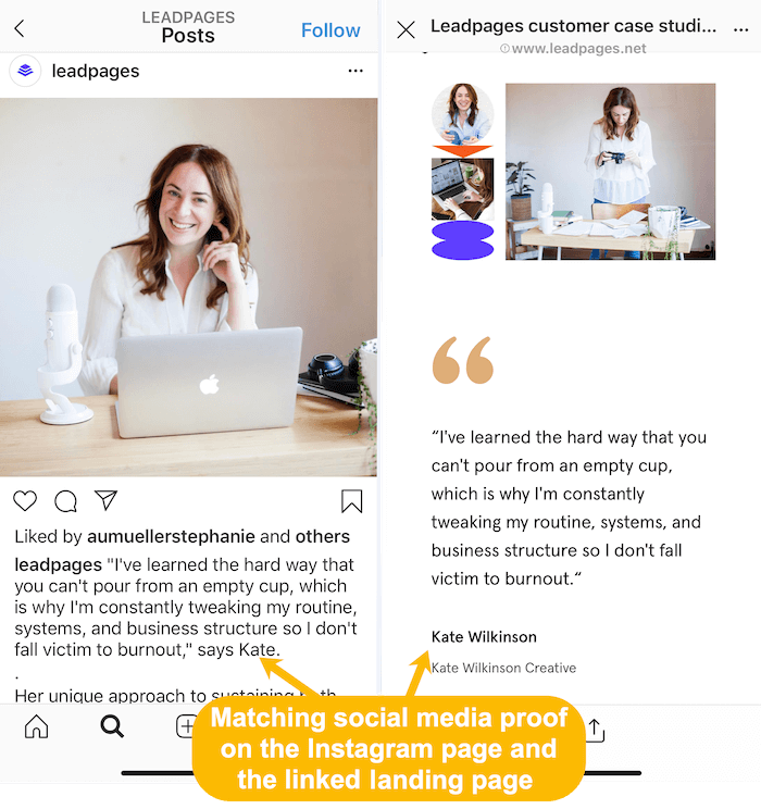 matching customer stories on Instagram feed and linked landing page