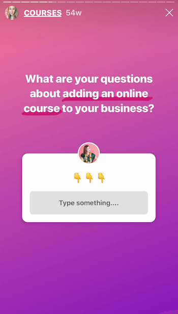 Instagram story with Questions sticker