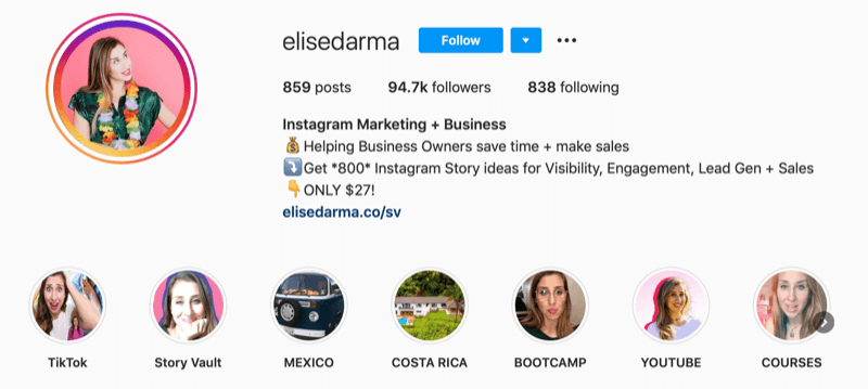Elise Darma Instagram profile