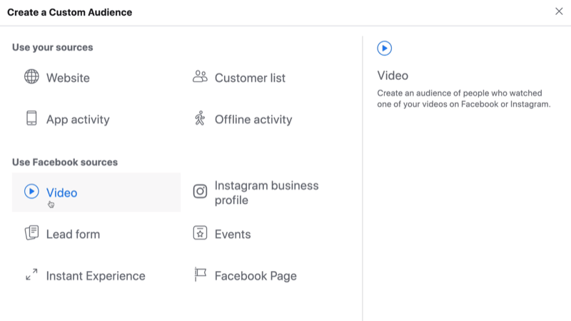 select Video as source for Facebook custom audience